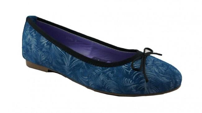 Blue Suede Patterned Flats