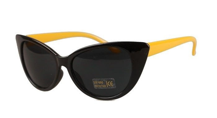 Cat's Eye Sunglasses Glossy black with Yellow Legs UV400sunglassesCherri Lane - Cherri Lane 50's Vintage Inspired Pinup Rockabilly & Alternative Clothing Australia