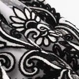Grace Black & White Floral Embroidered Tulle Border Dress