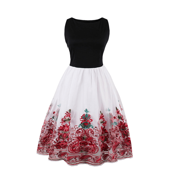Grace Green & Red Floral Embroidered Tulle Border Dress Sml to 4XL Plus Size