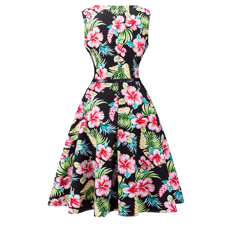 Sabrina 1950s Hibiscus Floral A-line Swing DressDressCherri Lane - Cherri Lane 50's Vintage Inspired Pinup Rockabilly & Alternative Clothing Australia