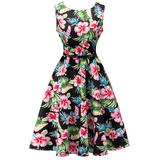 Sabrina 1950s Hibiscus Floral A-line Swing Dress