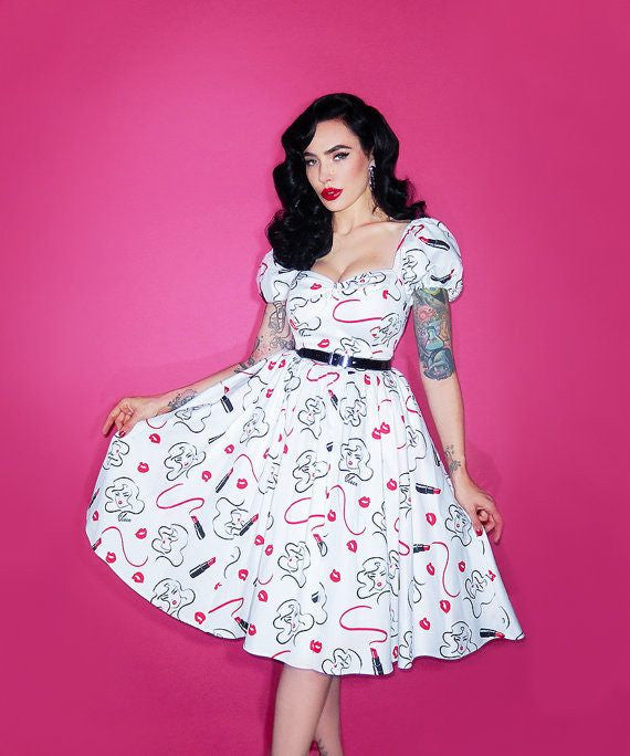 Vixen Swing Dress in Vintage Lipstick Print - Vixen by Micheline PittDressVixen by Micheline Pitt - Cherri Lane 50's Vintage Inspired Pinup Rockabilly & Alternative Clothing Australia