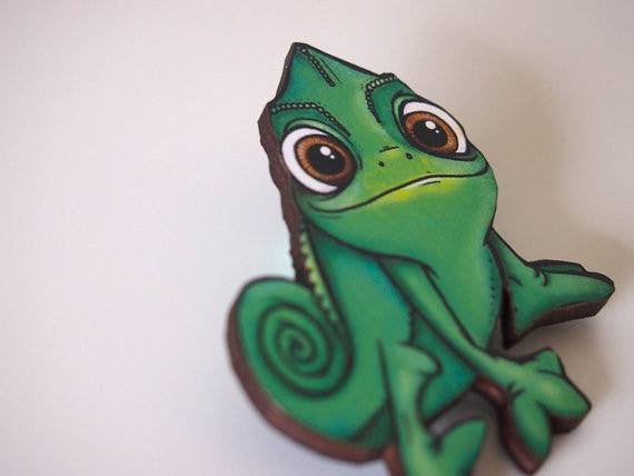Pascal Chameleon from Rapunzel Laser Cut Wood BroochbroochHungry Designs - Cherri Lane 50's Vintage Inspired Pinup Rockabilly & Alternative Clothing Australia