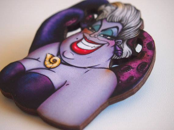 Ursula - The Little Mermaid - Laser Cut Wood BroochbroochHungry Designs - Cherri Lane 50's Vintage Inspired Pinup Rockabilly & Alternative Clothing Australia