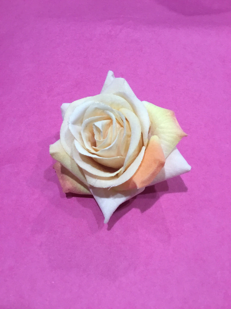 Velvet Rose Hair Flower Clip/Brooch 7cm Apricot