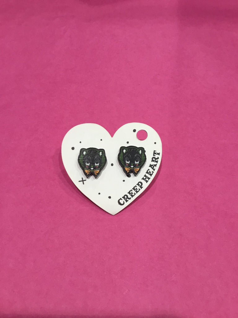 Witchy Black Cat Ear Studs
