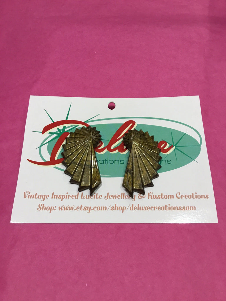 Vintage Inspired Mid Century Fan Earrings