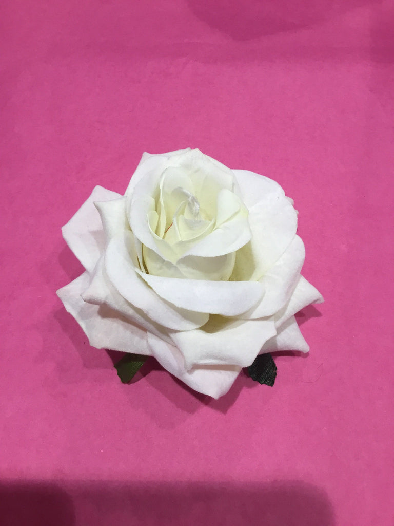 Velvet Rose Hair Flower Clip/Brooch 11cm White