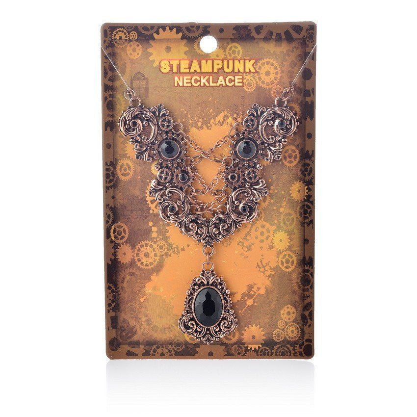 Lace up Chain Gem Pendant Steampunk Gears Necklace Copper PlatedNecklaceCherri Lane - Cherri Lane 50's Vintage Inspired Pinup Rockabilly & Alternative Clothing Australia