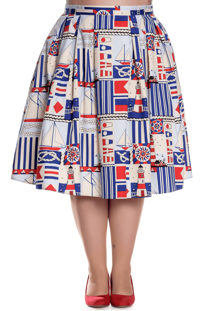 Lighthouse Skirt XS to 4XL Plus SizeSkirtHell Bunny - Cherri Lane 50's Vintage Inspired Pinup Rockabilly & Alternative Clothing Australia