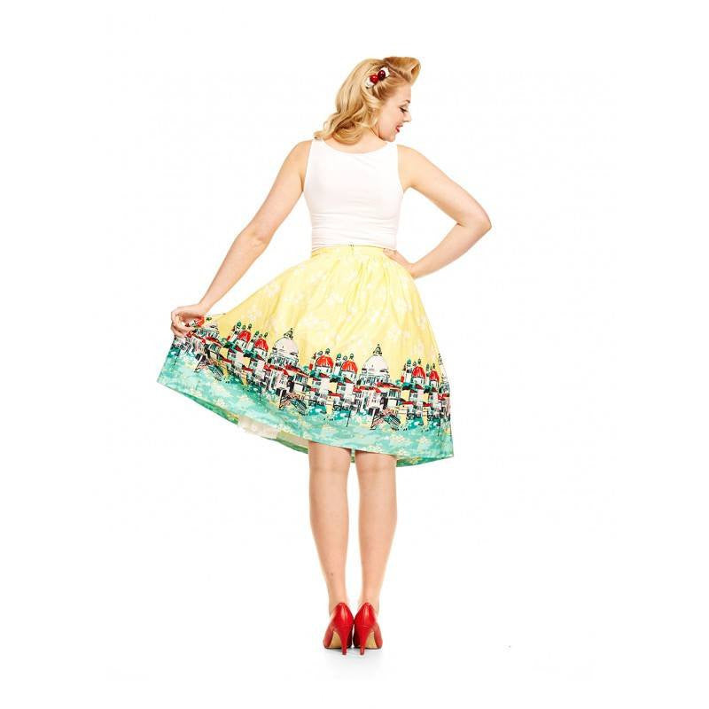 Contessa Yellow Venice Print Swing SkirtSkirtLindy Bop - Cherri Lane 50's Vintage Inspired Pinup Rockabilly & Alternative Clothing Australia