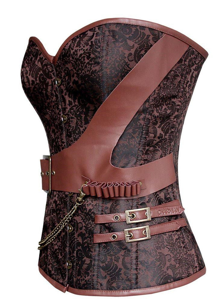 Spiral Steel Boned Steampunk Brown Jaquard Buckle Front Overbust Corset