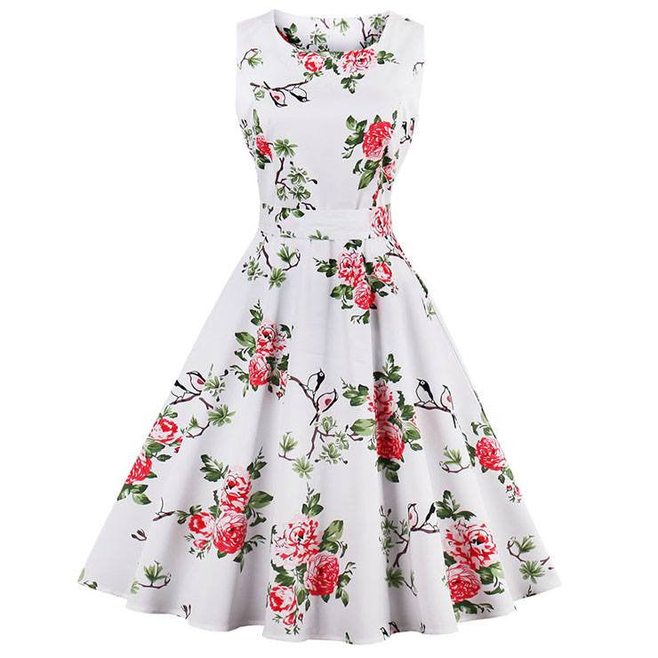 White Finches Tea DressDressCherri Lane - Cherri Lane 50's Vintage Inspired Pinup Rockabilly & Alternative Clothing Australia