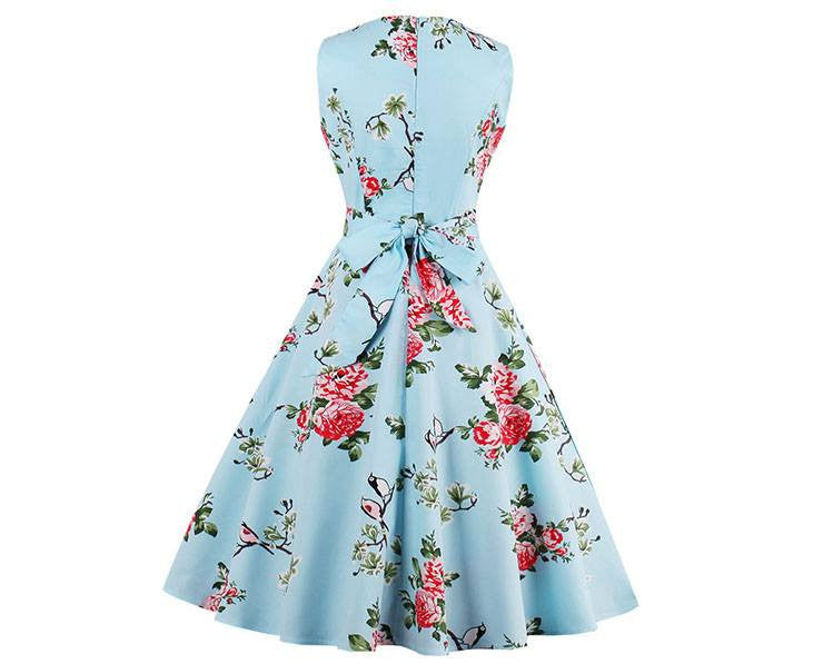 Blue Finches Tea DressDressCherri Lane - Cherri Lane 50's Vintage Inspired Pinup Rockabilly & Alternative Clothing Australia