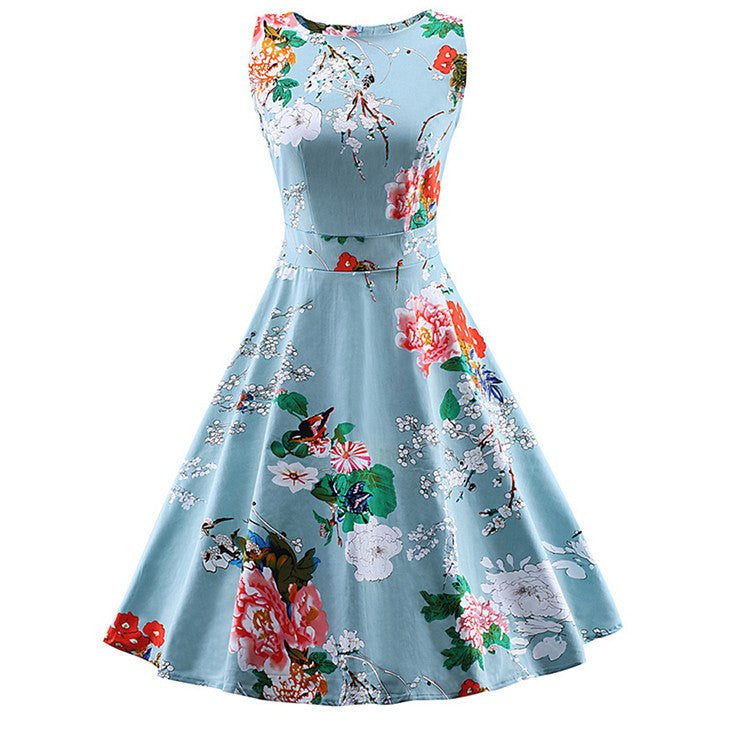 Blue Floral Print Casual Swing DressDressCherri Lane - Cherri Lane 50's Vintage Inspired Pinup Rockabilly & Alternative Clothing Australia
