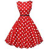 Red and White Polka Dot Belted Swing Dress
