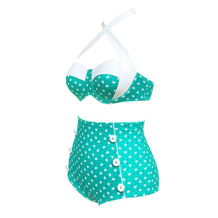 High Waist Polka Heart Teal Two Piece Bikini