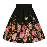 Floral Border Print High Waisted Flared Swing Skirt