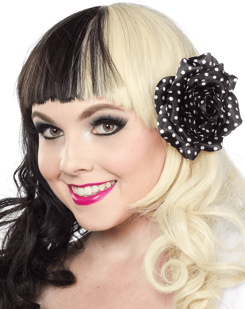Sourpuss Rose Hair clip Black with White Spots RoseAccessoriesSourpuss - Cherri Lane 50's Vintage Inspired Pinup Rockabilly & Alternative Clothing Australia