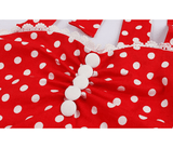 Red and White Polka Dot Sweetheart Neckline Swing Dress