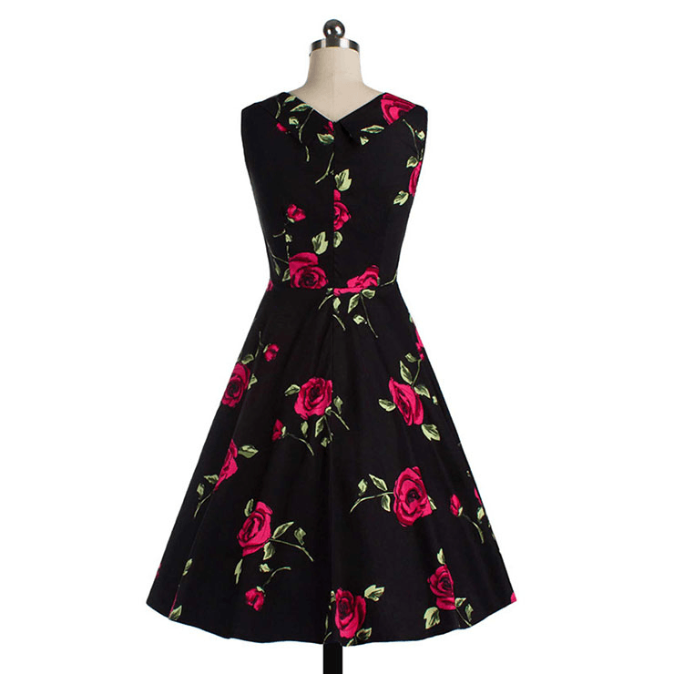 1950's Vintage inspired Red Roses Cut Out Sweetheart Neckline DressDressCherri Lane - Cherri Lane 50's Vintage Inspired Pinup Rockabilly & Alternative Clothing Australia