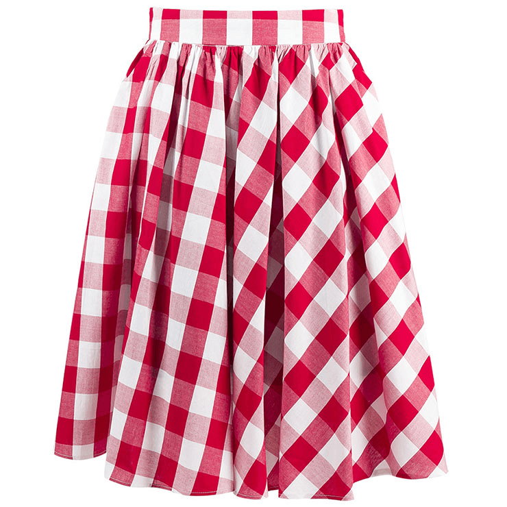 Red & White Check Print High Waisted Swing SkirtSkirtCherri Lane - Cherri Lane 50's Vintage Inspired Pinup Rockabilly & Alternative Clothing Australia