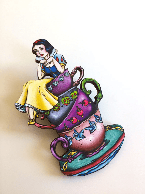Teacup Snow White - Laser Cut Wood BroochbroochHungry Designs - Cherri Lane 50's Vintage Inspired Pinup Rockabilly & Alternative Clothing Australia