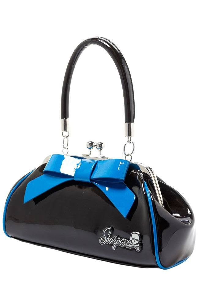 Sourpuss Floozy Purse Black and BluehandbagsSourpuss - Cherri Lane 50's Vintage Inspired Pinup Rockabilly & Alternative Clothing Australia