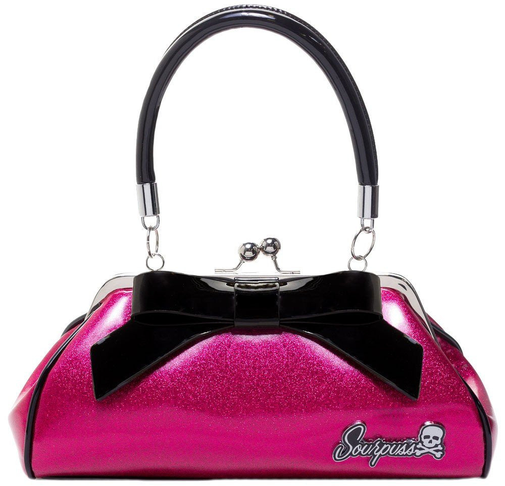 Floozy Purse Pink GlitterhandbagsSourpuss - Cherri Lane 50's Vintage Inspired Pinup Rockabilly & Alternative Clothing Australia