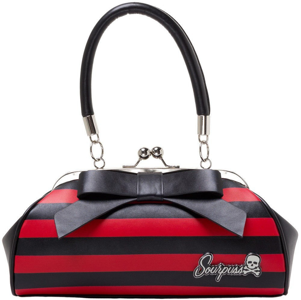 Sourpuss Floozy Purse Blk/Red StripehandbagsSourpuss - Cherri Lane 50's Vintage Inspired Pinup Rockabilly & Alternative Clothing Australia