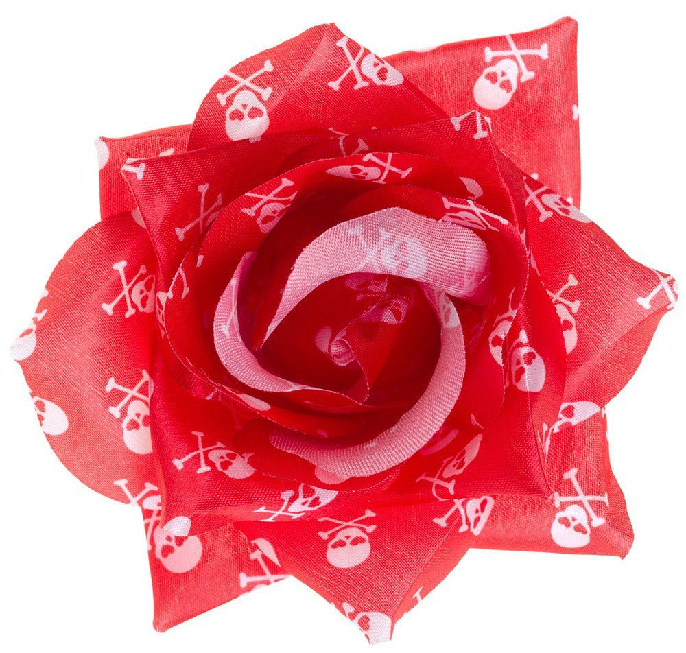 Sourpuss Rose Hair clip Red with White Skulls Rose