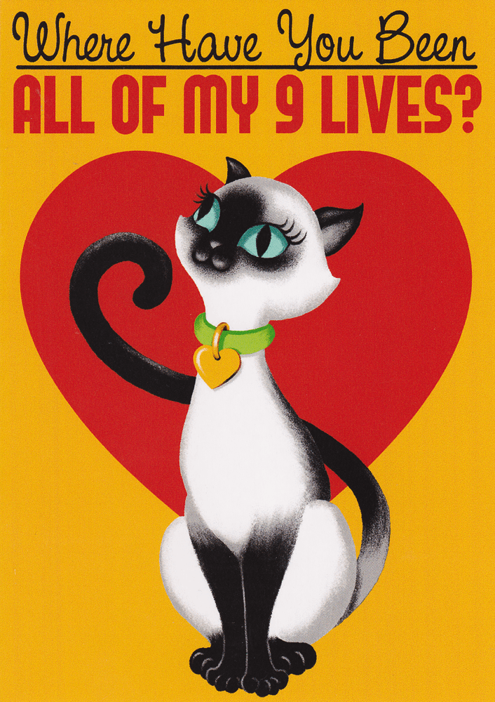 Nine Lives Greeting Card Limited EditionCards and gift wrapSourpuss - Cherri Lane 50's Vintage Inspired Pinup Rockabilly & Alternative Clothing Australia