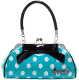 Sourpuss Floozy Purse Aquamarine/Wht Polka dots