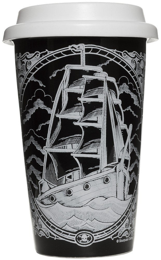 Clipper Ship Ceramic Tumbler SourpusstumblerSourpuss - Cherri Lane 50's Vintage Inspired Pinup Rockabilly & Alternative Clothing Australia