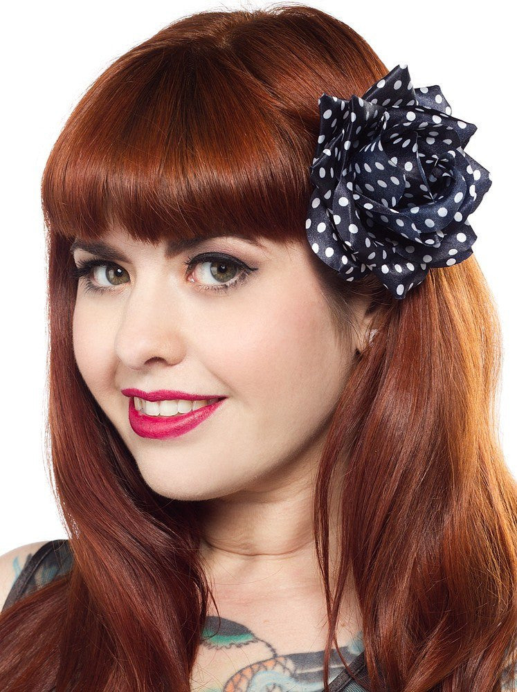 Sourpuss Rose Hair clip Navy with White Spots RoseAccessoriesSourpuss - Cherri Lane 50's Vintage Inspired Pinup Rockabilly & Alternative Clothing Australia