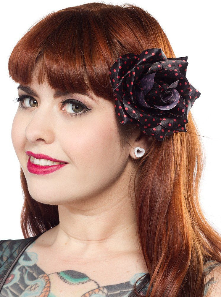 Sourpuss Rose Hair clip Black with Red SpotsAccessoriesSourpuss - Cherri Lane 50's Vintage Inspired Pinup Rockabilly & Alternative Clothing Australia