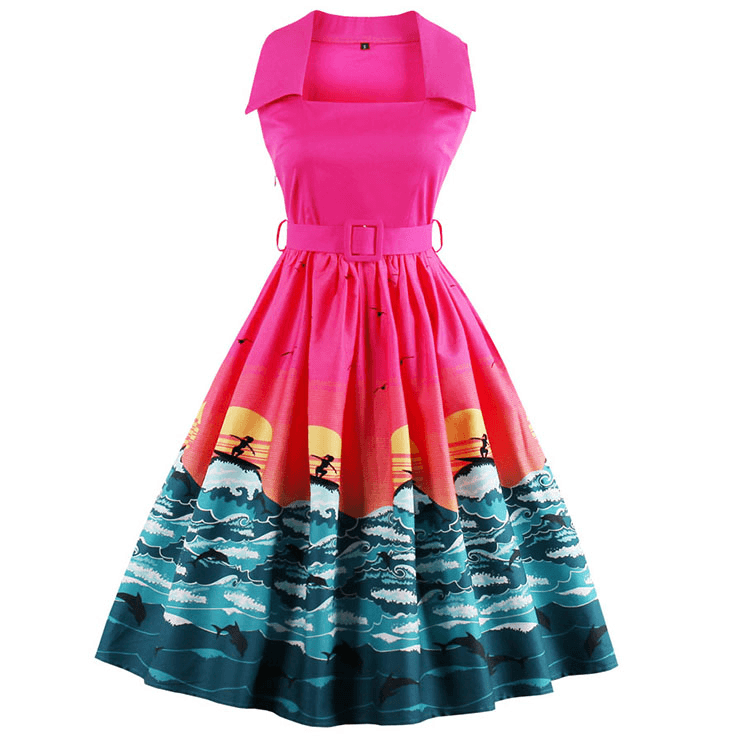 Sunrise Surf Collared DressDressCherri Lane - Cherri Lane 50's Vintage Inspired Pinup Rockabilly & Alternative Clothing Australia