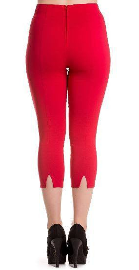 Red Tina Capri By Hell bunny Sizes XS up to XLPantsHell Bunny - Cherri Lane 50's Vintage Inspired Pinup Rockabilly & Alternative Clothing Australia