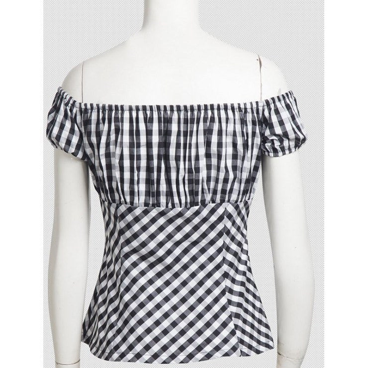 White and Black Gingham Belle Top