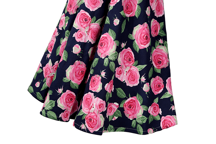 Victoria V-neck Rose Floral Cross Swing Dress
