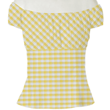 Yellow & White Gingham Belle Top