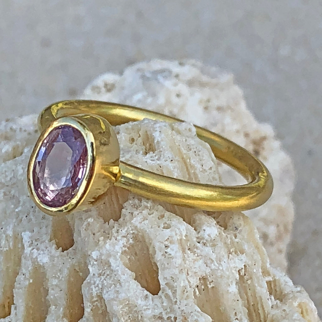 The Philippe Spencer Oval Pink Sapphire Bezel Set Ring