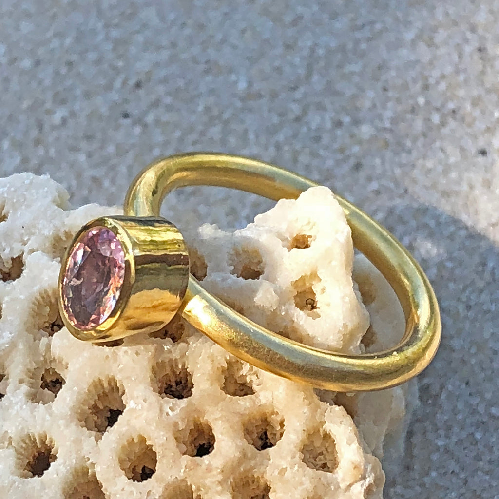 The Philippe Spencer Faceted Oval Pink Sapphire Ring