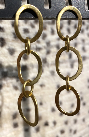 The Philippe Spencer Oval 3 Hoop Signature Link Earrings