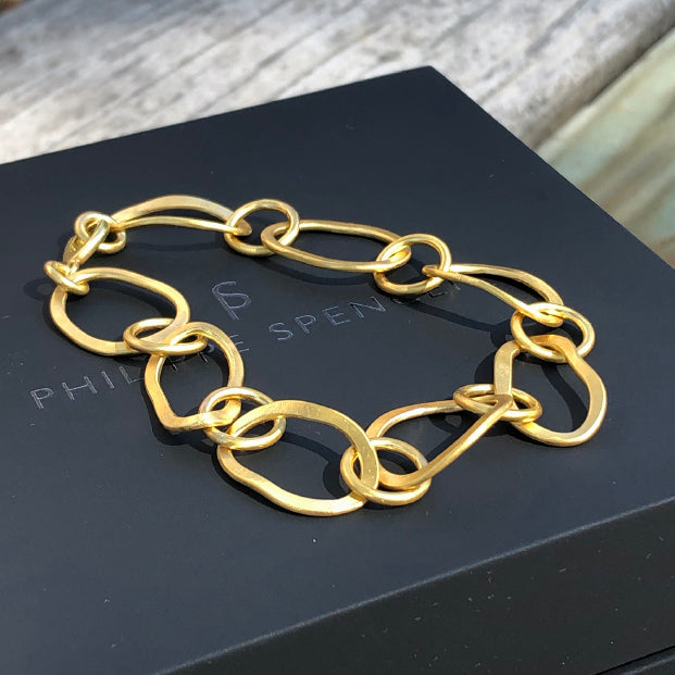 The Philippe Spencer Solid 20K Gold Hand Forged Oval Link Bracelet