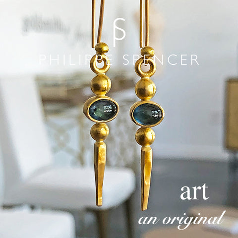 The Philippe Spencer Fancy Color Sapphires Wrapped in 22K Gold with 20K Hoop Earrings