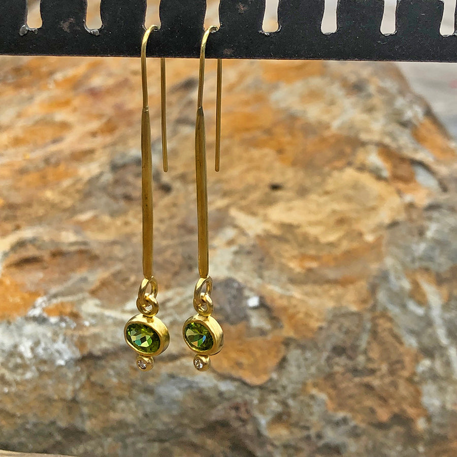 The Philippe Spencer Peridot and Diamond Elongated 20K Gold Earrings