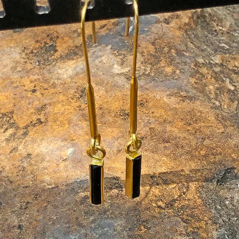The Philippe Spencer Elongated Black Tourmaline Earrings