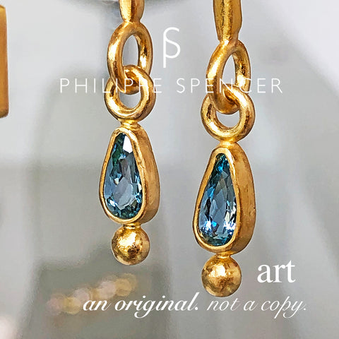 The Philippe Spencer Dangling Teardrop Aquamarine Earrings in 20K Gold
